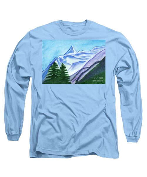 Two Mountain Spruce Against The Backdrop Of Snow-capped Peak Long Sleeve T-Shirt