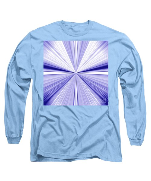 Starburst Light Beams In Blue And White Abstract Design - Plb455 Long Sleeve T-Shirt
