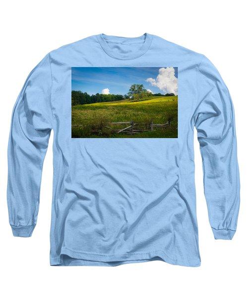 Blue Ridge Parkway - Summer Fields Of Yellow - Lone Tree Long Sleeve T-Shirt