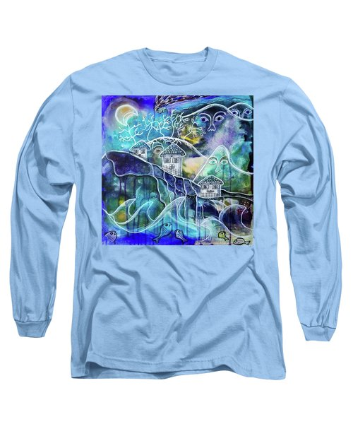 Three Houses On A Cliff Long Sleeve T-Shirt