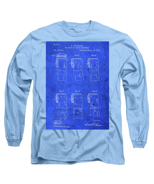 Vintage Toilet Paper Roll Holder Patent Blueprint Long Sleeve T-Shirt