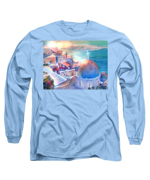 White Church Santorini Greece Long Sleeve T-Shirt