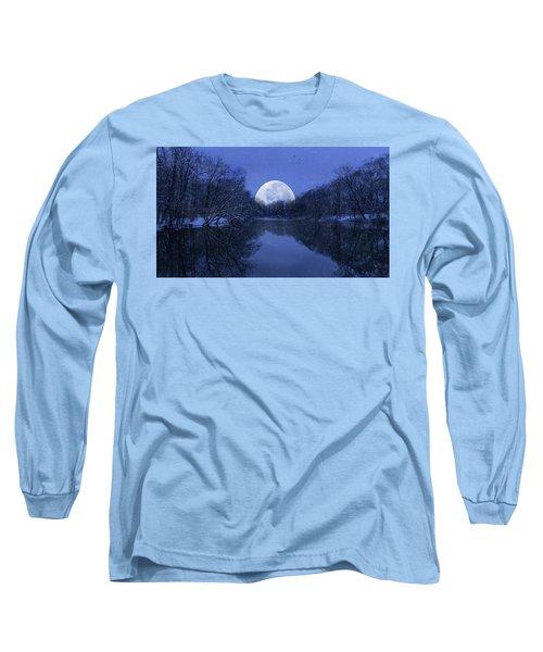 Winter Night On The Pond Long Sleeve T-Shirt