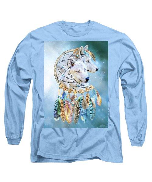 Long Sleeve T-Shirt featuring the mixed media Wolf Dreams by Carol Cavalaris