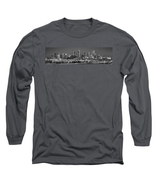 Long Sleeve T-Shirt featuring the photograph  Denver Skyline At Dusk Black And White Bw Evening Extra Wide Panorama Broncos  by Jon Holiday