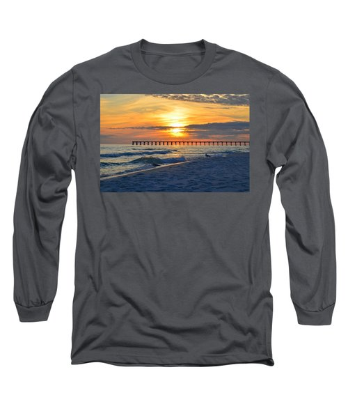 0108 Sunset Colors Over Navarre Pier On Navarre Beach With Gulls Long Sleeve T-Shirt by Jeff at JSJ Photography