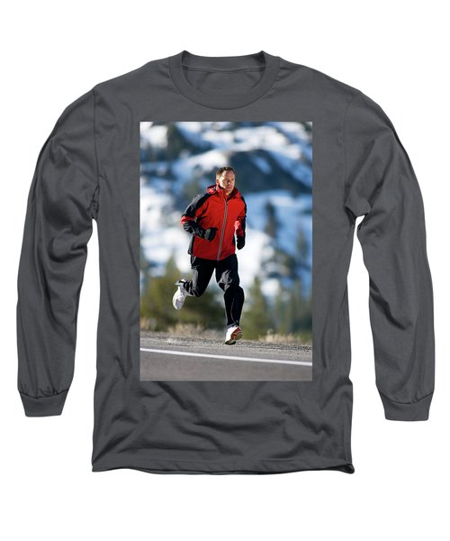 A Man Runs Alone On A Late Winter Day Long Sleeve T-Shirt