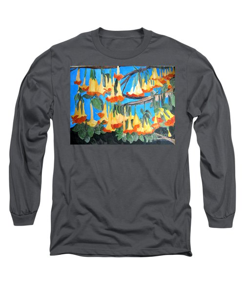 Long Sleeve T-Shirt featuring the painting Angel Trumpets by Sandy McIntire
