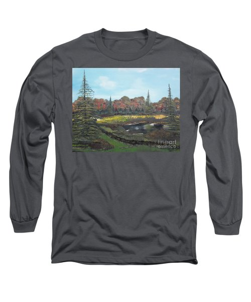 Long Sleeve T-Shirt featuring the painting Autumn Landscape by Jan Dappen