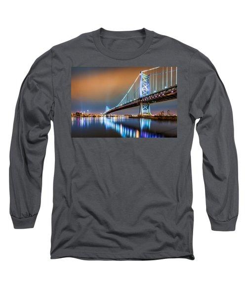 Ben Franklin Bridge And Philadelphia Skyline By Night Long Sleeve T-Shirt