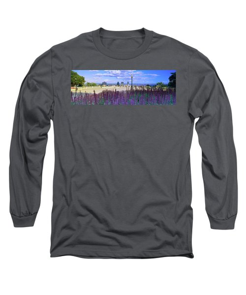 Blooming Flowers With City Skyline Long Sleeve T-Shirt