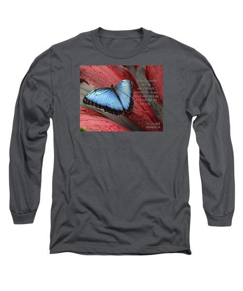 Blue Morpho 2 Long Sleeve T-Shirt by Diane E Berry
