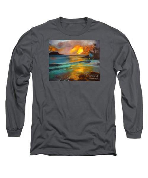 Long Sleeve T-Shirt featuring the painting Blue Sunset by Jenny Lee