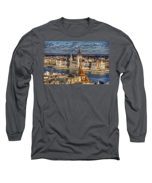 Buda Parliament  Long Sleeve T-Shirt by Nathan Wright