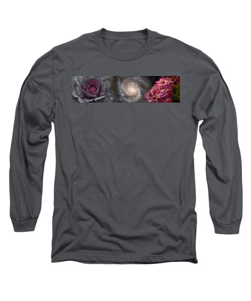 Cabbage With Galaxy And Pink Flowers Long Sleeve T-Shirt by Panoramic Images