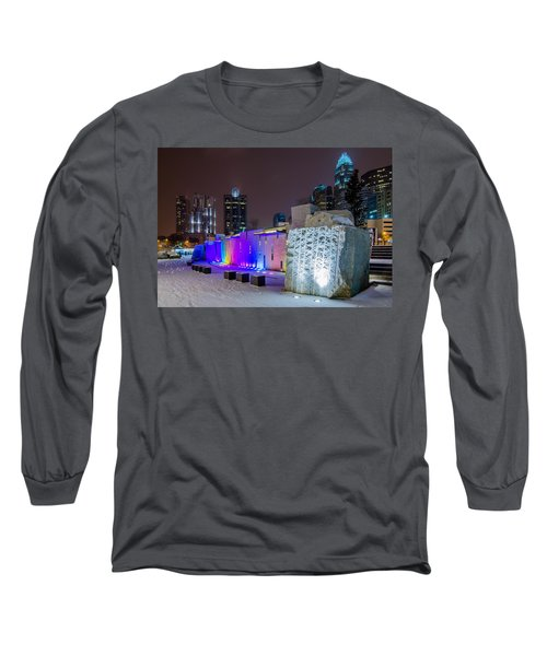 Charlotte Queen City Skyline Near Romare Bearden Park In Winter Snow Long Sleeve T-Shirt