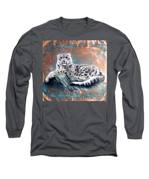 Copper Snow Leopard Long Sleeve T-Shirt by Sandi Baker