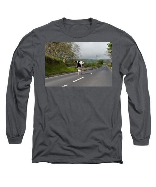 Cow Walks Along Country Road Long Sleeve T-Shirt