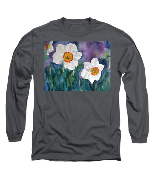 Long Sleeve T-Shirt featuring the painting Daffodil Dream by Anna Ruzsan