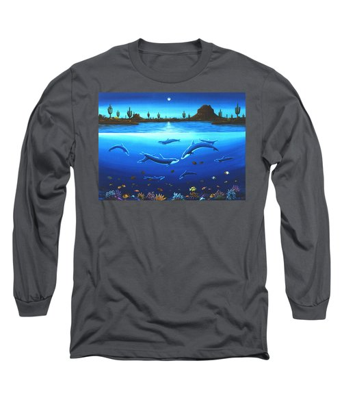 Long Sleeve T-Shirt featuring the painting Desert Dolphins by Lance Headlee