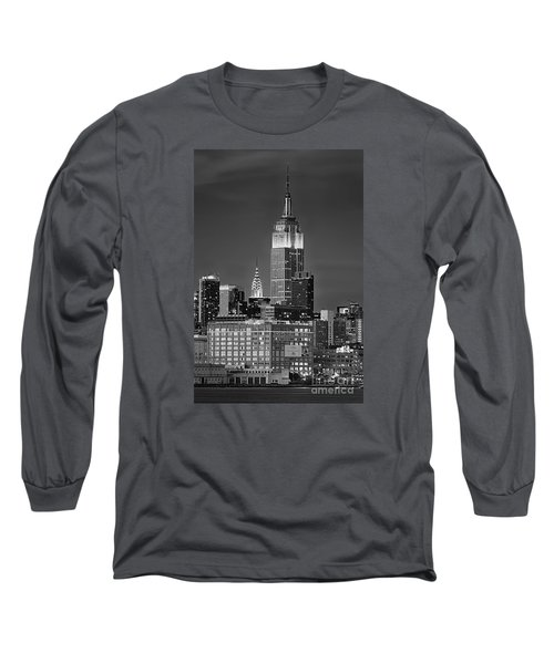 Empire And Chrysler Buildings Long Sleeve T-Shirt by Jerry Fornarotto
