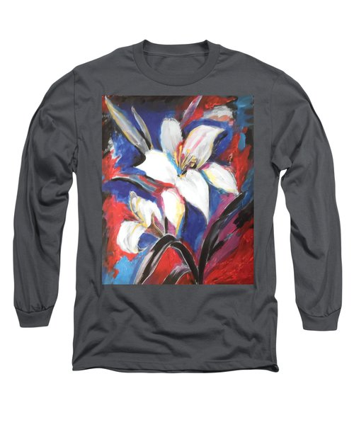 Long Sleeve T-Shirt featuring the painting Fair Pure Fragile White Lilies by Esther Newman-Cohen