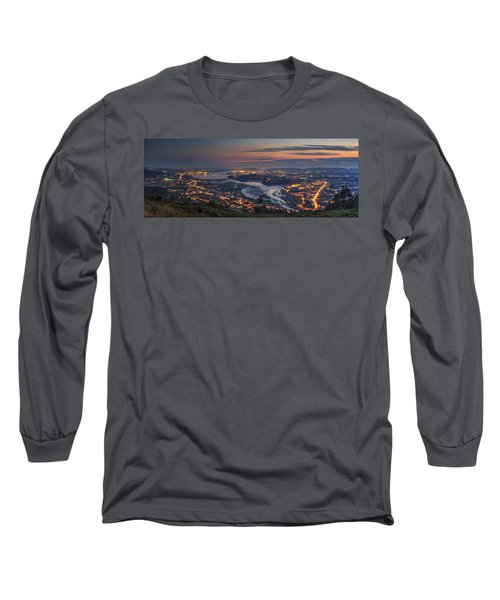 Ferrol's Ria Panorama From Mount Ancos Galicia Spain Long Sleeve T-Shirt by Pablo Avanzini
