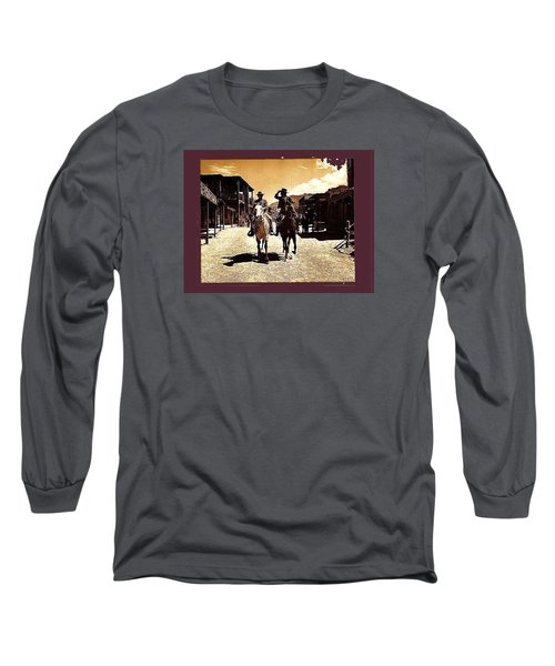 Film Homage Mark Slade Cameron Mitchell Riding Horses The High Chaparral Old Tucson Az C.1967-2013 Long Sleeve T-Shirt by David Lee Guss