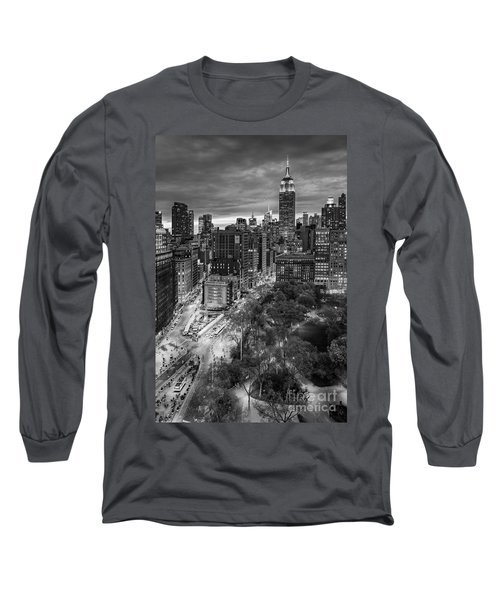 Long Sleeve T-Shirt featuring the photograph Flatiron District Birds Eye View by Susan Candelario