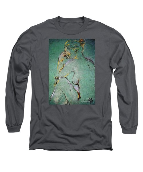 Long Sleeve T-Shirt featuring the drawing Nude IIi  by Dragica  Micki Fortuna