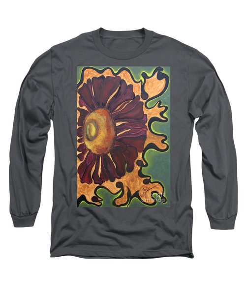 Long Sleeve T-Shirt featuring the painting Old Fashion Flower by Jolanta Anna Karolska