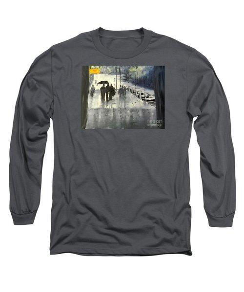 Rainy City Street Long Sleeve T-Shirt by Pamela  Meredith