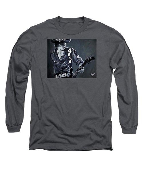 Stevie Ray Vaughan Long Sleeve T-Shirt by Tom Carlton