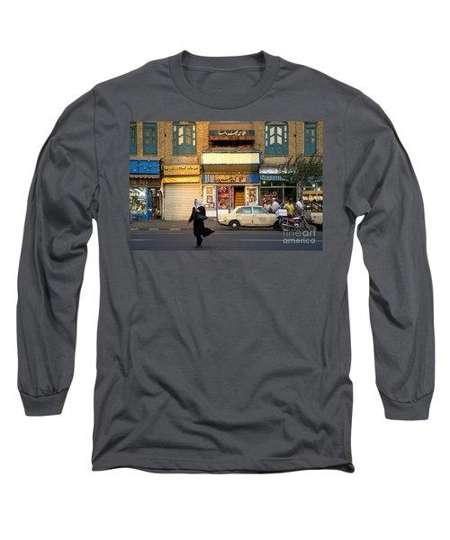 Street Scene In Teheran Iran Long Sleeve T-Shirt