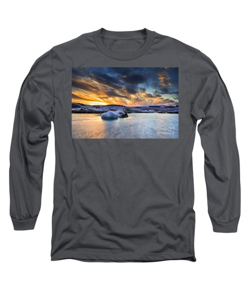 sunset at Jokulsarlon iceland Long Sleeve T-Shirt