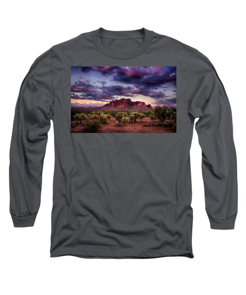 Sunset At The Superstitions  Long Sleeve T-Shirt by Saija  Lehtonen