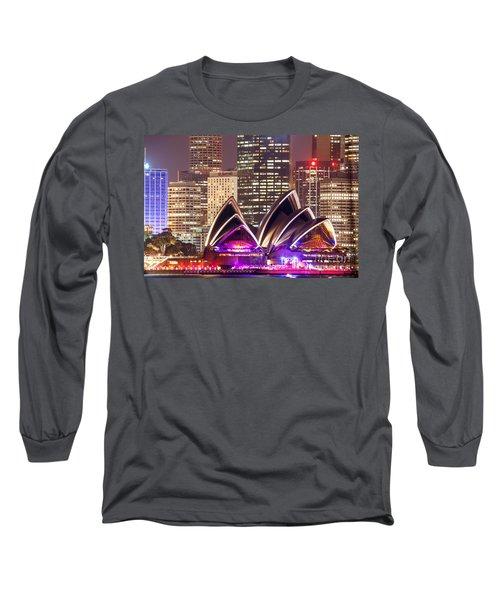 Sydney Skyline At Night With Opera House - Australia Long Sleeve T-Shirt