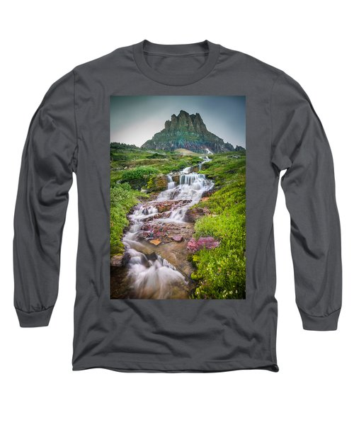 Triple Falls Stream Glacier National Park Long Sleeve T-Shirt