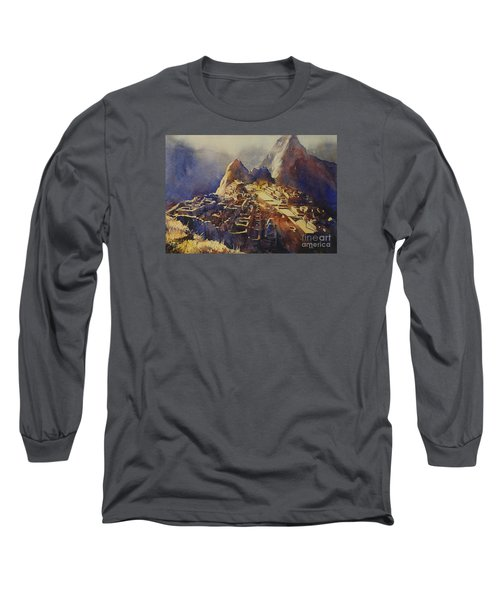Watercolor Painting Machu Picchu Peru Long Sleeve T-Shirt