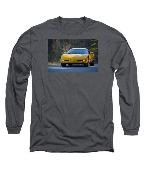Yellow Corvette Long Sleeve T-Shirt by Mike Martin