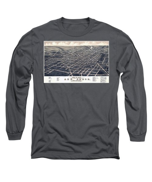 1880 Birds Eye Map Of Ann Arbor Long Sleeve T-Shirt by Stephen Stookey