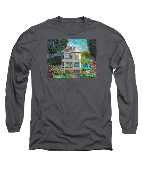 Long Sleeve T-Shirt featuring the mixed media Alameda 1895 Quenn Anne by Linda Weinstock