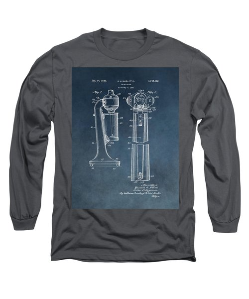 1930 Drink Mixer Patent Blue Long Sleeve T-Shirt by Dan Sproul