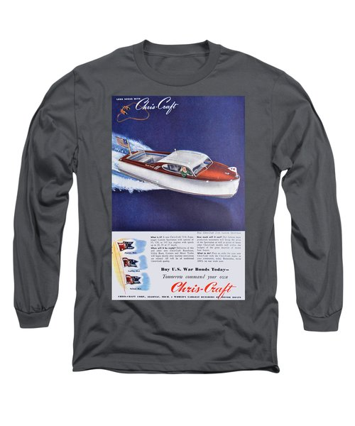 1945 - Chris Craft Power Boat Advertisement - Color Long Sleeve T-Shirt