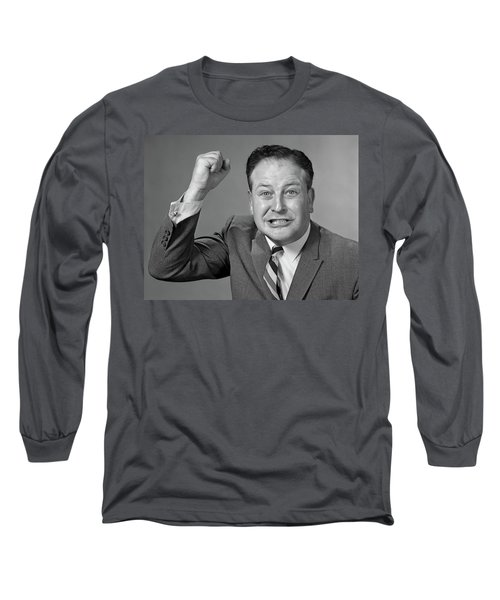 1950s 1960s Portrait Of Angry Man Long Sleeve T-Shirt