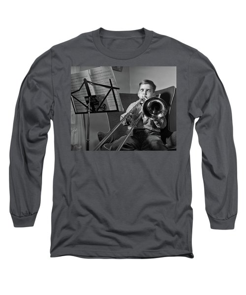 1950s Funny Cross-eyed Boy Playing Long Sleeve T-Shirt