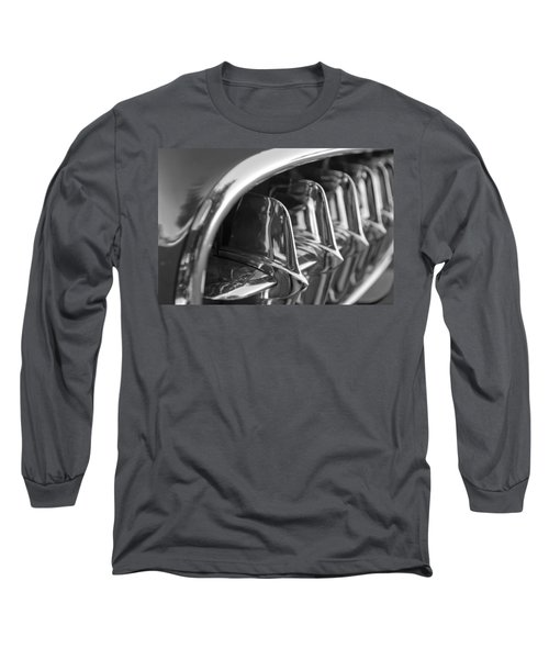 1957 Corvette Grille Black And White Long Sleeve T-Shirt