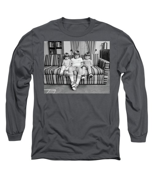 1970s Three Siblings Sitting On Couch Long Sleeve T-Shirt