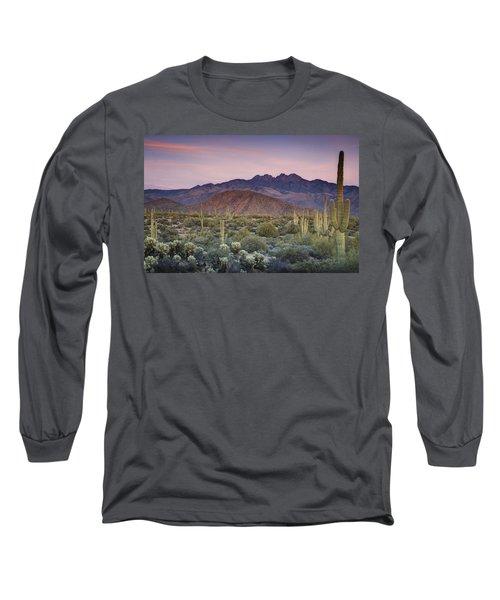 A Desert Sunset  Long Sleeve T-Shirt by Saija  Lehtonen