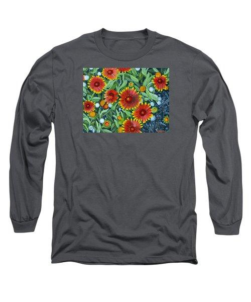 Blanket Flowers Long Sleeve T-Shirt by Donna  Manaraze
